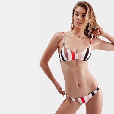 Colorful Stripes Spaghetti Straps Two Piece Sexy Bikini Set_7