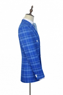 2020 Blue Grid Double Breasted Custom Suit For Men | Modern Peak Lapel 2 Pockets Wedding Suit For Groom_4