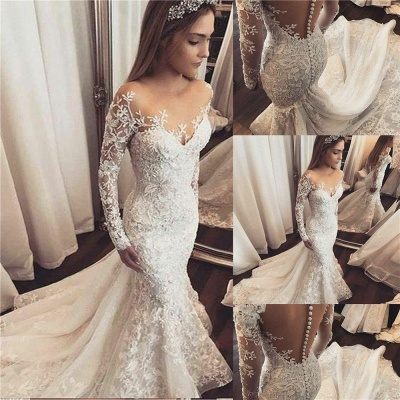 Gorgeous Beads Lace Appliques Off The Shoulder Wedding Dresses | Ruffles See Through Long Sleeve Cheap Bridal Gowns_2
