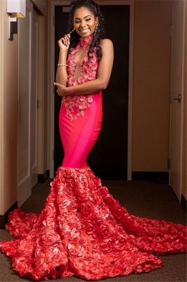 Chic Halter Flower Applique Sleeveless Long Prom Dress_2