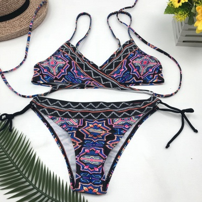 V-neck Spaghetti Tribal Patterns Two Piece Sexy Bikini Sets_5