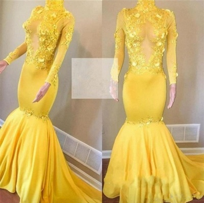 Yellow High Neck Flower Appliques Sexy Mermaid Long Sleeves Prom Dresses_3