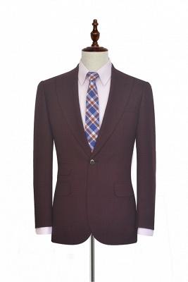 Costume sur mesure de revers de petite grille rouge foncé foncé pour hommes | Nouveau costume simple à un bouton homme d'honneur garçons d'honneur hommes