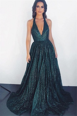 Glamorous Dark Green Halter Sleeveless  Prom Dress_1