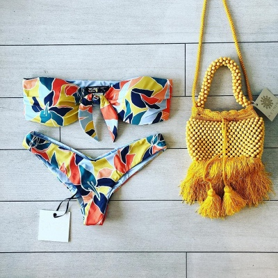 High Waist Strapless Colorful Patterns Two Piece Sexy Bikinis_8