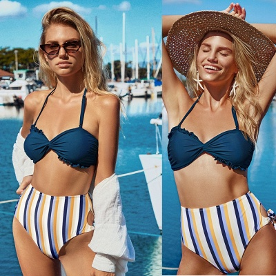 Halter Pads Stripe Bottom Two Piece Sexy Bikini Sets_4