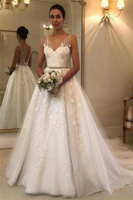 Elegant See Through Straps Appliques Wedding Dresses   Sexy Sleeveless Cheap Bridal Gowns_1