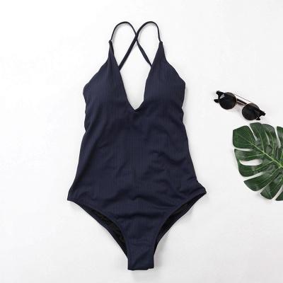 Plain V-neck Criss-cross Bandage One Piece Swimsuits_5