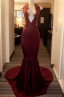 Burgundy Halter Appliques Sleeveless Mermaid Long Prom Dresses Cheap_1