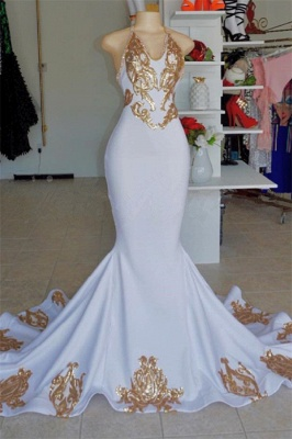 Halter V-Neck Sleeveless Mermaid Peom Gowns | Sexy Gold Appliques Prom Dresses Cheap_1