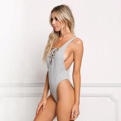V-neck Straps Lace-up One Piece Swimwear_4