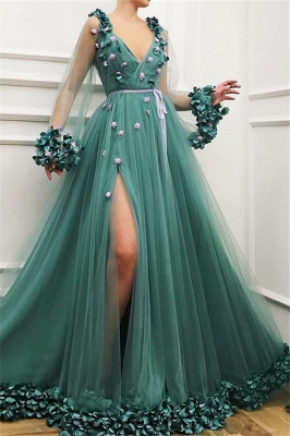 Chic Green Long-Sleeves Tulle Side-Slit  Prom Dress_1