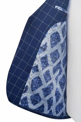 Costume fait sur mesure de revers de laine à motif de grille de laine bleu profond   Costume de mariage unique à deux boutons unique pour marié_7
