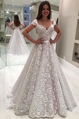 New Arrival Off The Shoulder Lace Bridal Gowns | Bowknot Sash Cheap Wedding Dresses_1