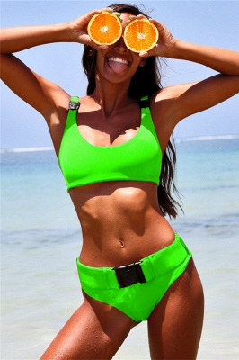 Plain Scoop Colorful Two Piece Buckled Sexy Bikini Swimsuits_4