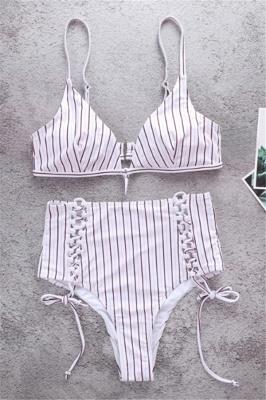 Vintage Ribbed Stripes Bra Two Piece Sexy Bikini Set_1