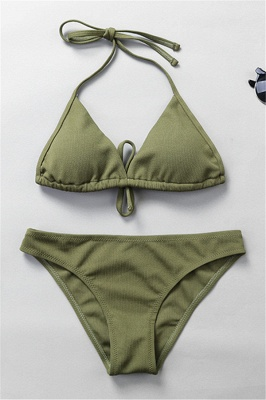 Plain Triangle Pads Halter Two Piece Sexy Bikini Sets_5