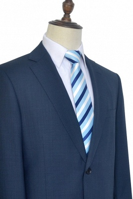 Dark Grey Blue Notched Lapel Custom Suit For Men | Fashion Single Breasted Two Botton Business Men Suit_6