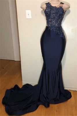 Dark Blue Straps Sleeveless Appliques Mermaid Prom Dresses Cheap_1