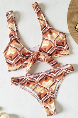 Totem Patterns V-neck Knot Straps Two Piece Sexy Bikini Sets_1