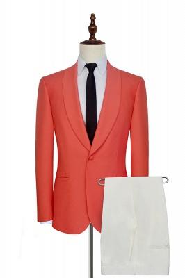Nouvelle arrivée costume simple boutonnage 2 poches costume sur mesure | Melon d'eau rouge châle collier costume fait sur commande smokings de mariage marié