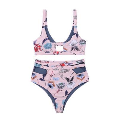 Flower Prints Pink Two Piece Lovely Sexy Bikini Swimwear_8