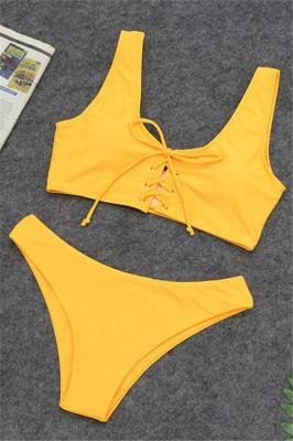 Ensembles de bikini taille haute à lacets en deux parties à lacets_2