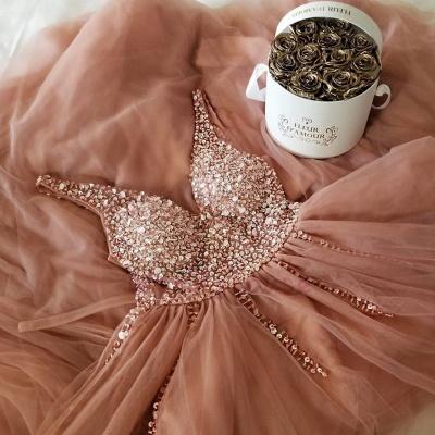 Straps V-Neck Appliques Sleeveless A-Line Prom Dresses_3