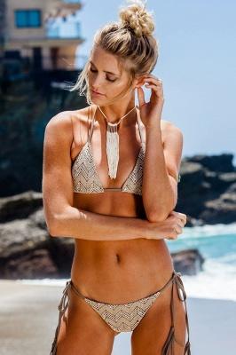 Lace Triangle Cut-outs Halter Sexy Bikini Swimwear
