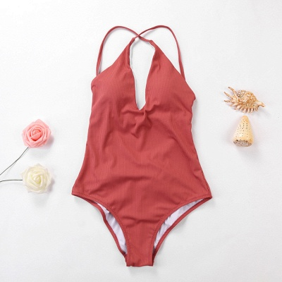 Plain V-neck Criss-cross Bandage One Piece Swimsuits_17