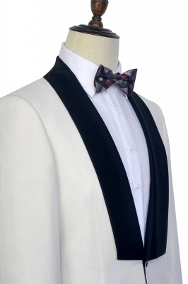 White Shawl Collar Single Breasted Wedding Suit   New Arrival 2 Pocket Custom Suit For Men_6