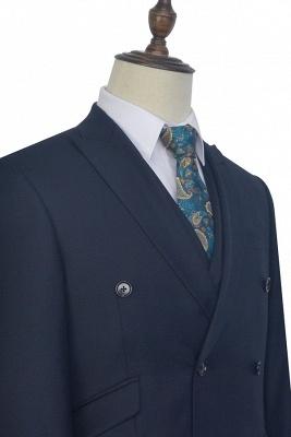 Hign Quality Dark Blue Double Breasted Custom Suit For Formal | Peak lapel 3 Pocket Tailored Best Groomsmen Suit_6