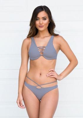 Lace-up Bandage Plain Two Piece Sexy Bikini Beachwears_8