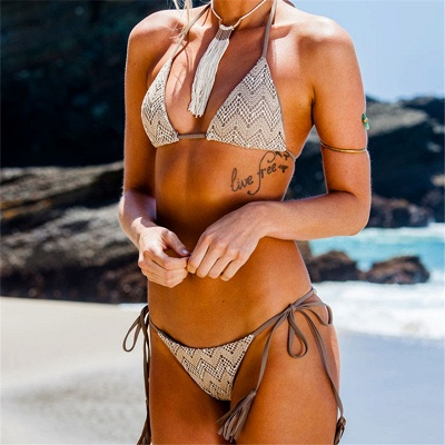 Lace Triangle Cut-outs Halter Sexy Bikini Swimwear_5