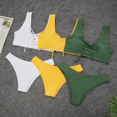 Ensembles de bikini taille haute à lacets en deux parties à lacets_10