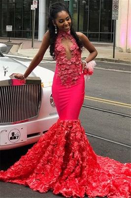 Chic Halter Flower Applique Sleeveless Long Prom Dress_1