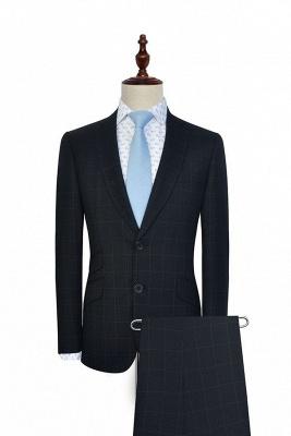Costume classique à trois poches en laine à carreaux noirs pour hommes | Revers à boutonnage simple et boutonné fait sur mesure pour hommes