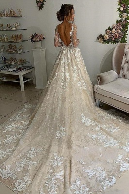 Elegant Lace Appliques V-Neck Wedding Dresses | See Through Long Sleeve Open Back Cheap Bridal Gowns_2