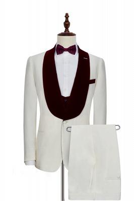 Blanc rouge velours col châle un bouton costume de mariage pour marié | Dernière conception costume simple boutonnage slim