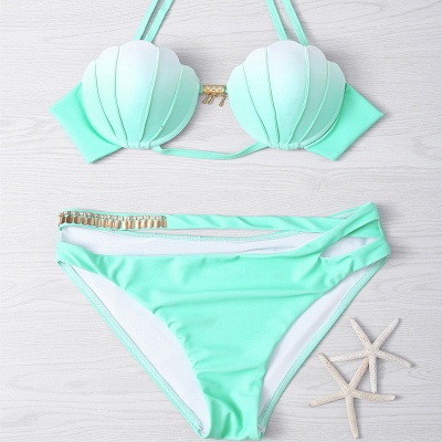Ensemble de bikini vert dégradé menthe verte_7