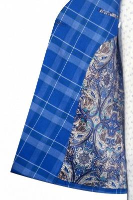 2020 Blue Grid Double Breasted Custom Suit For Men | Modern Peak Lapel 2 Pockets Wedding Suit For Groom_6
