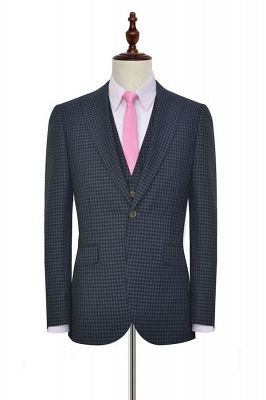 Dark Gray Small Grid One Button Peaked Lapel Custom Wedding Suit | Single Breasted Three-Piece Suit For Men Tuxedos_3