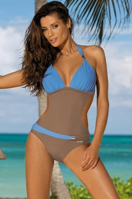 Halter One-piece Irrégulier Color Block Side Sheer Beachwear_15
