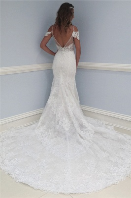 Latest Lace V-Neck Wedding Dresses Sexy | Ruffles See Through Cap Sleeve Cheap Bridal Gowns_2