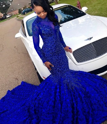 Glamorous Royal Blue Long-Sleeves Hign-Neck Flower Applique Sexy Mermaid Evening Gown_3