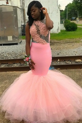 Pink Sleeveless Appliques Backless Tulle Sexy Mermaid Prom Dresses_1
