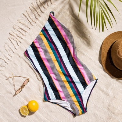 One-shoulder Colorful Sripes One Piece Swimwear_7