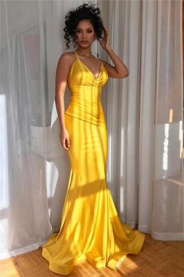Yellow Spaghetti-Straps V-Neck Ruffle Sexy Mermaid Evening Gown_2