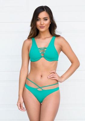 Lace-up Bandage Plain Two Piece Sexy Bikini Beachwears_10