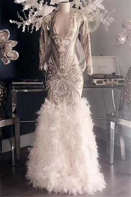 Glamorous Appliques Fur V-Neck Long Sleeve Mermaid Long Prom Dresses Cheap_1